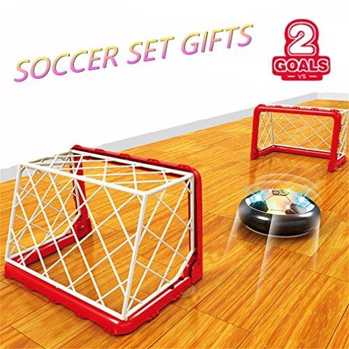 Air Power Fußball Fußballtor Hover Ball mit tor Indoor LED Beleuchtung Perfekt zum Spielen Spaß Sie mit Ihren Eltern und Freunden Drinnen Oder im Dunkeln ohne Wände und Möbel zu Beschädigen -
