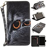 Samsung Galaxy S7 Case Leather [Cash and 3 Card Slots], Cozy Hut Premium Retro Cute Cat Tiger Lion Monkey Owl Wolf Dog Embossed Patterned PU Leather Stand Function Protective Cases Covers with Card Slot Holder Wallet Book Design Magnetic Closure Secure Lock Case for Samsung Galaxy S7 - Half face cat