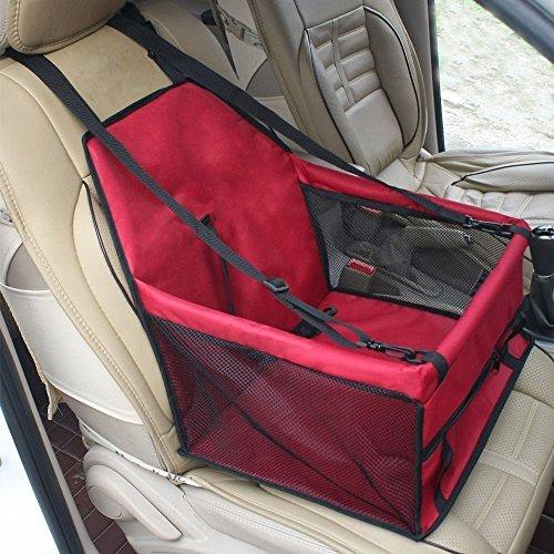 Hunde Autositz, Flying Beauty Portable Haustier Autositzbezug Auto Sitzerhöhung mit Clip-On Sicherheitsleine und Reißverschluss Aufbewahrungstasche für kleine und mittlere Haustiere bis zu 20 lbs (Rot)