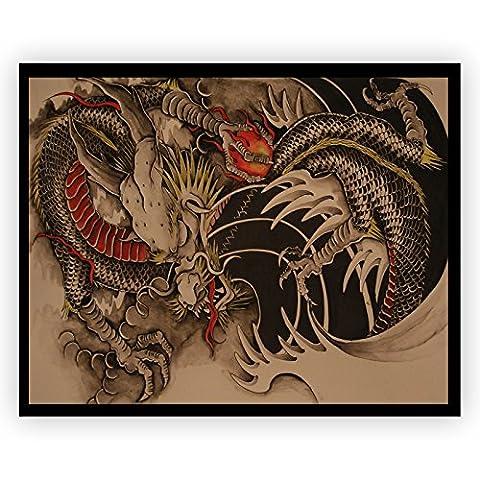 Rot Dragon Classic China Acrylglas Wand Kunst -70cm x 56cm