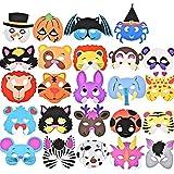 German Trendseller 12 x Kinder Party Masken - Mix ┃ Schaumstoff Masken ┃ Ideal für Kindergeburtstag und Karneval ┃ Mitgebsel ┃ 12 Masken