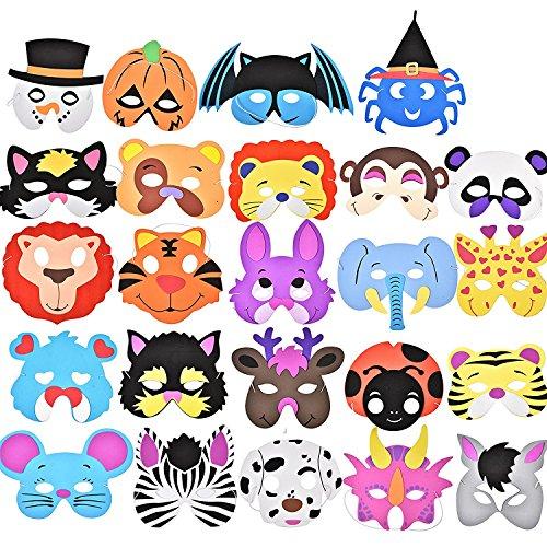 Preisvergleich Produktbild German Trendseller® - 24 x Kinder Party Masken - Mix  Schaumstoff Masken  Ideal für Kindergeburtstag und Karneval  Mitgebsel  24 Masken