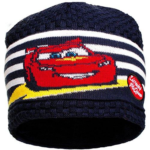 alles-meine.de GmbH Mütze / Strickmütze -  Disney Cars / Lightning McQueen - Auto  - Größe 51 - Fleece Futter / Fleecemütze - 100 % Baumwolle - Strick Beanie - universal - für ..