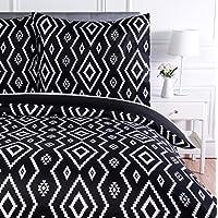 AmazonBasics Parure de lit avec housse de couette en microfibre, 140 x 200 cm, Noir (Black Aztec)