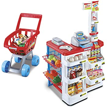 1257fd44e834 Children's Pretend Supermarket & Trolley Set, 24 Piece Role Play Kids  Kitchen Food Stall with Functioning Till, Light Up Scanner, Play Money &  Weighing ...