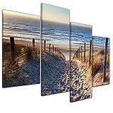 Kunstdruck - Schöner Weg zum Strand III - Bild auf Leinwand - 120x80 cm vierteilig - Leinwandbilder - Urlaub, Sonne & Meer - Nordsee - Dünen mit Strandgräsern - Idylle - Erholung