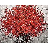 astratto rosso fiori DIY dipinto di numeri dipinta a mano acrilico foto da parete, arte moderna pittura a olio per matrimonio casa decorazione A Bunch of Red Flowers