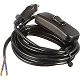 Kopp 140305098 Euro-kabel 2 m, met tussenschakelaar, zwart