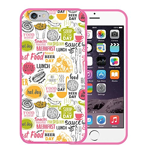 iPhone 6 6S Hülle, WoowCase Handyhülle Silikon für [ iPhone 6 6S ] Mondrian Stil Rechtecke Handytasche Handy Cover Case Schutzhülle Flexible TPU - Transparent Housse Gel iPhone 6 6S Rosa D0406