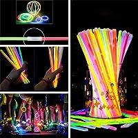 Party Propz Glow Sticks Band Bracelets-100Pcs Pack Bulk Glowing Stiks Bands Radium Tubes Make Necklace Bracelet…