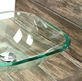 """""""Glaswaschbecken quadratisch mit Ablaufgarnitur"""" Glas Aufsatzwaschbecken Waschschale aus Klarglas (1 Set - quadratisch)"""