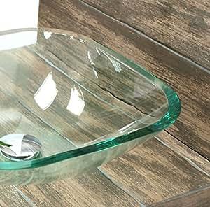 glaswaschbecken quadratisch mit ablaufgarnitur glas aufsatzwaschbecken waschschale aus. Black Bedroom Furniture Sets. Home Design Ideas