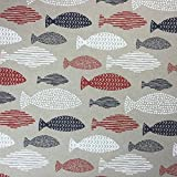 Nautical Fish Baumwolle Rich Leinen Look Stoff für Vorhänge Jalousien Craft Quilting Patchwork und Polstermöbeln ca. 140cm breit, Meterware,