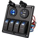 Kohree Schakelpaneel voor 4 versnellingen, waterdicht, dual USB-oplader, 12 V, tuimelschakelaar, led-schakelveld met schakels