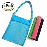 Skyocean mesh sac de plage (boîte de 4) 11,4 x 13.7inch avec bretelles réglables pour la plage des coquillages camping maillot de voyage collecte sacs réutilisables piscines de stockage jouet eco (ros