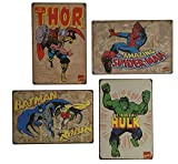 UNIQUERLove Uniquelover Super-héros Hulk, Batman, Spiderman, Thor Man Mavel Comics Vieilli rétro Vintage Plaque en métal Décoration Murale 30,5x 20,3cm; - 4PCS