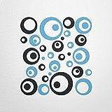 WANDfee Wandtattoo 50 Retro Kreise AC0710115 Größe Ø 2 x 20 cm, 6 x 15 cm, 10 x 10 cm, 20 x 6 cm, 12 x 3 cm Farbe schwarz hellblau