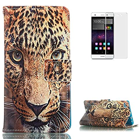 HUAWEI P8 Lite PU Leather Wallet Case [with Free Screen Protector],KaseHom Cool Fashion Colourful Design Folio Book Style Magnetic Closure Stand Function with Card Slots and Cash Holder Shockproof Synthetic Faux Leather Full Body Protective Flip Case Cover Skin Shell for HUAWEI P8 Lite - Tiger