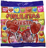 FIESTA Piruletas - Caramelo con palo en forma de corazón - Sabor cereza, 12 paquete de 7 unidades