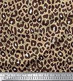 Soimoi Beige Baumwoll-Voile Stoff Leopard Tierhaut Stoff Drucke Meter 58 Zoll breit