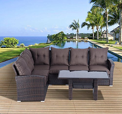outsunny 5pcs rattan garden furniture sofa set - Garden Furniture Sofa Sets