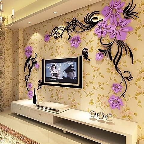 die neue blume rebe 3d - acryl - kristall dreidimensionale wall aufkleber tv hintergrund wand dekoration aufkleber,recht