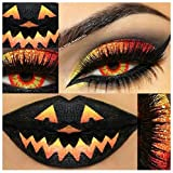 Farbige Kontaktlinsen, Halloween, Fasching, weich, ohne Stärke als 2er Pack - angenehm zu tragen, perfekt zu Halloween, Karneval, Fasching, Junggesellen abschied, Party (Feuer)