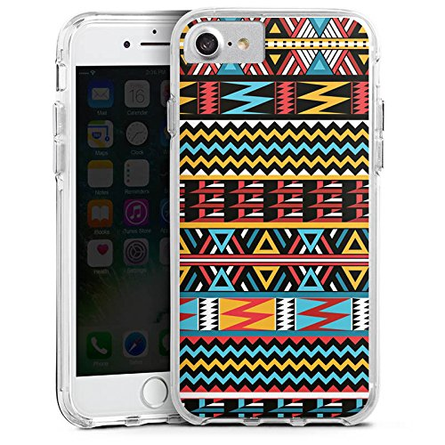Apple iPhone 6s Bumper Hülle Bumper Case Glitzer Hülle Ethno Style Muster Pattern Bumper Case transparent