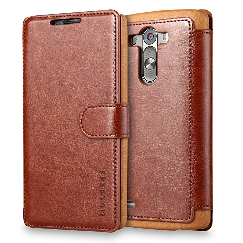 Mulbess LG G3 hülle Kaffee Braun,Ledertasche für LG G3 Tasche Leder