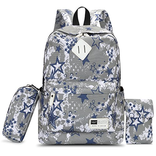 HIKKER-LINK Cute Backpack for Kids School Phone Hand Bags Pencil Case 3 Pieces Set Gray