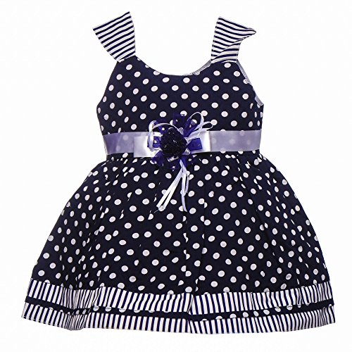 Littly Baby Girl's Party Wear Polka Print Cotton Frock Dress With Panty (Black,12 Months-18 Months)  available at amazon for Rs.399