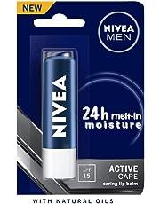 NIVEA MEN Lip Balm, Active Care No Shine (SPF 15), 4.8g