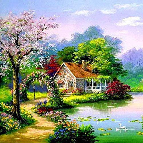 DIY 5D Diamond Painting by Number Kit for Adult,Full Drill Diamond Painting Scenery,Lake,Cabin,Embroidery Cross Stitch Arts Craft Home Wall Decoration,11.8×11.8in