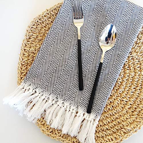 schbare gewebte Baumwoll-Tischset mit dekorativen Fransen Everyday Basic Buffet Serviette ()