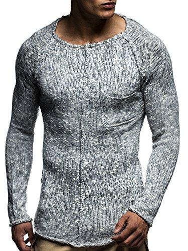 LEIF NELSON Herren Pullover Strickpullover Hoodie Basic Rundhals Crew Neck Sweatshirt langarm Sweater Feinstrick LN20716; Gr_¤e M, Grau