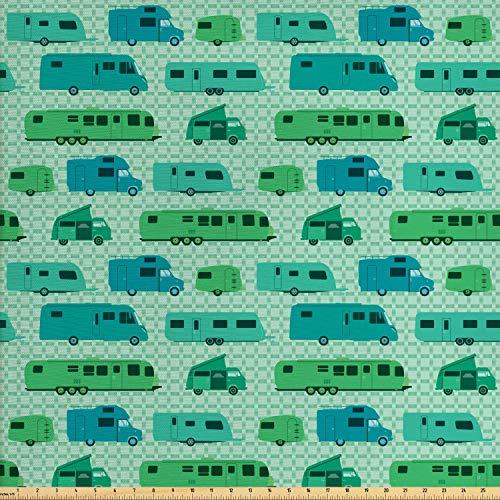 ABAKUHAUS Wohnmobil Stoff als Meterware, Plätze und Wohnwagen, Qualitäts Stoff Dekorativer Polster Heimtextilienstoff, 2M (160x200cm), Mintgrün Grün und Blau