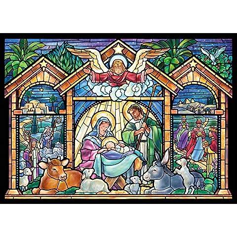 Religious in vetro con natività Christmas Cards-Confezione da 15 biglietti con buste,