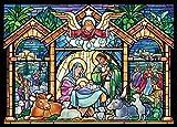 Tarjetas navideñas de vidrieras de religiosas de Navidad. Caja de 15 tarjetas, 16 sobres