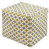 Izabela Peters Designer Luxe Velours Marocain Cube Pouf - Gris & Moutarde Bahia, Marrakech - Collection Conçu ,Imprimé& Main IN The UK