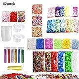 52 Pack Making Kit Limo Suministros que incluyen bolas de pecera, Bolas de espuma, Glitter, confeti, Contenedores de almacenamiento, Herramientas de lodo para el arte del bricolaje Slime hecho en casa
