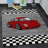 Moderner Kinder Teppich Car Auto Rennwagen Kurzflor Frisee versch Größen – VIMODA; Maße: 160x230 cm