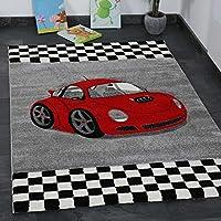 VIMODA Moderner Kinder Teppich Car Auto Rennwagen Kurzflor Frisee versch Größen 120x170 cm