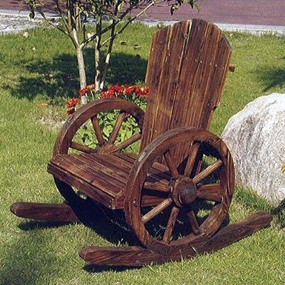 Wagenrad-Schaukelstuhl aus massivem Holz, Burntwood