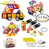 113 Pieces Magnetic Building Blocks Magnet Tiles Educational Stacking Magnetic Blocks For Kids 3D Magnet Building Toys Set In Rainbow Colors With Wheels, Case
