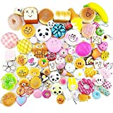 Leegoal Squishy Toys Set, Mini Soft Slow Rising Squishy Bread Pineapple Cake Donut Toasts Cream Squeeze Stress Relief Food Toy Set with Key Chain for Kids, 20 pcs
