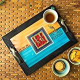 #6: ExclusiveLane Sunset Orange & Ocean Blue Handpainted Warli & Dhokra Wooden Tray -SERVING TRAY , BREAKFAST TRAY , KITCHEN TRAY , DINNING TRAY