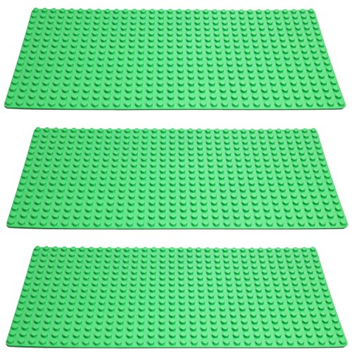 Katara 1739 - Große Bauplatten 3er Set, Kompatibel Lego, Simba Blox, MY, Q-Bricks 51cm x 26cm x 2cm, Rechteckig, Grün