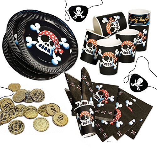Jolly Roger Piratenset + Partynelly® Bonus, für 8 Kinder, schwarzer Pirat, Teller, Servietten, Becher