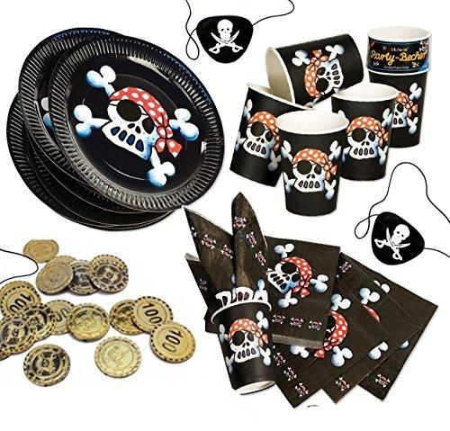 Jolly Roger Piratenset für 8 Kinder, schwarzer Pirat, Teller, Servietten, Becher, Münzen, Augenklappen (Münze Becher)