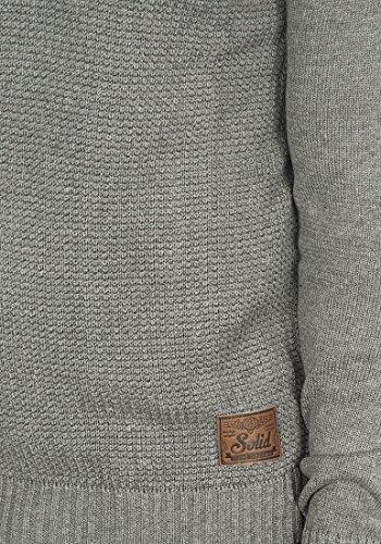 SOLID Turi Herren Strickpullover Schalkragen aus Baumwoll-Mischung Grey Melange